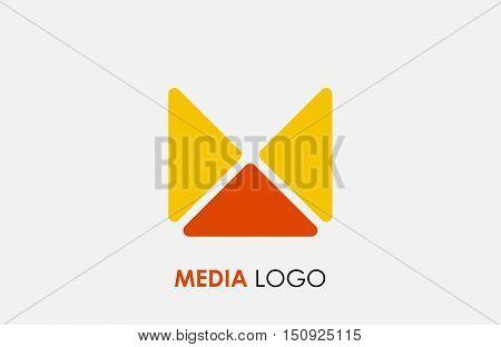 Abstract letter M logo design template. Colorful hexagon creative sign. Universal vector icon. Media logo