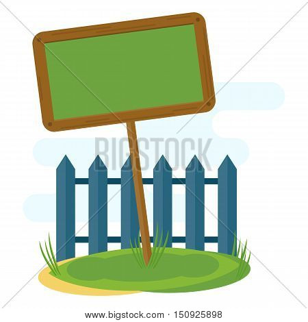 Blank green signboard for text in the garden near the fence. Flat cartoon signboard illustration. Objects isolated on a white background.