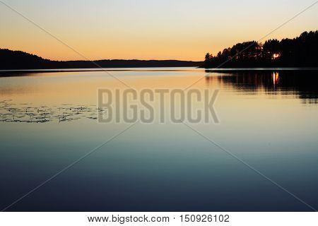 Sunset. Kenozero Lake. Aged Photo. Russian North.