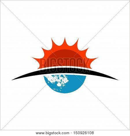 Sun and moon flat icon. Sign sun and moon logo design.