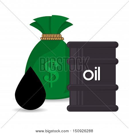 oil can and black drop with money sack. oil and petroleum price design. vector illustration