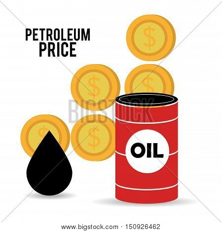 oil can and drop with money coins. petroleum price design. vector illustration