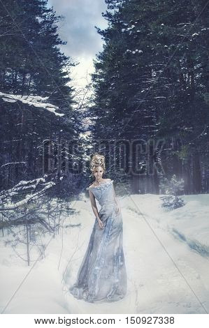 Female model in the image of the snow Queen with the appropriate hair and makeup in the winter forest