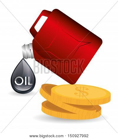 oil drop and gallon and money coins. petroleum price design. vector illustration