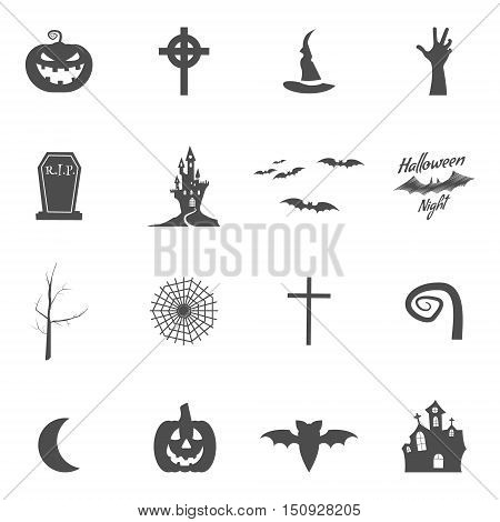 Set of halloween design creation tool kit. Icons isolate. Silhouette holiday design creator. Party symbols - pumpkin, bat, witches hat, vampire house, lonely tree Create own scary design, tee, t-shirt