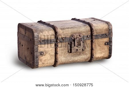 Old, Worn And Dirty Steamer Trunk