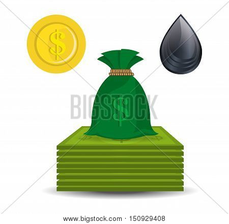 money coin and sack. oil and petroleum price design. vector illustration