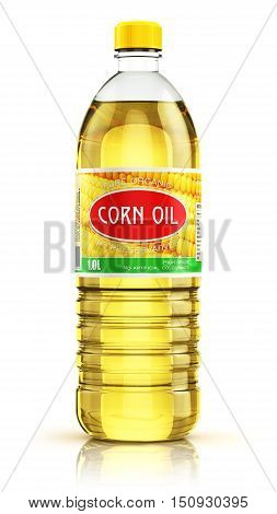 3D render illustration of plastic bottle of yellow refined vegetable corn cooking oil or organic fat isolated on white background with reflection effect