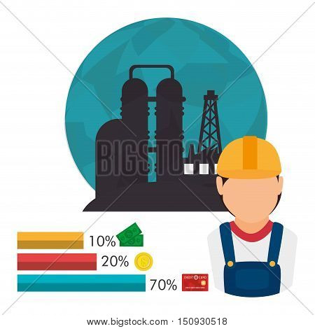 oil rig tower over blue circle and avatar industrial worker and graphic chart. petroleum price industry design. vector illustration