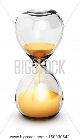 3D render illustration of hourglass or sandglass with yellow sand isolated on white background with reflection effect