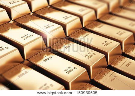 3D render illustration of the macro view of stacks and rows of gold ingots or golden bullions bars with selective focus effect