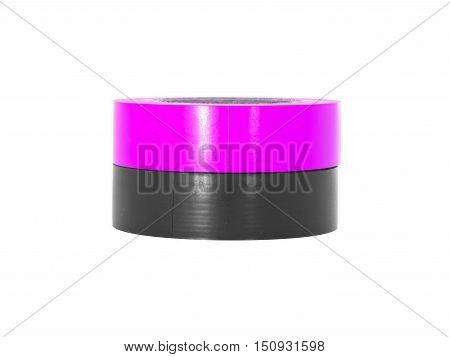 Adhesive pink black insulating tape rolls isolated on white background