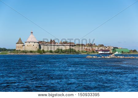 Oreshek fortress is situated on the small Orekhovy Island in the River Neva's outflow from Lake Ladoga Leningrad region Russia