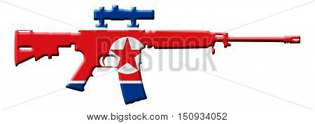 Fighting and Conflict in North Korea An outline of an assault rifle with the flag of North Korea isolated on white 3D Illustration