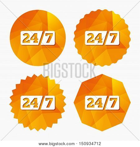 Service and support for customers. 24 hours a day and 7 days a week icon. Triangular low poly buttons with flat icon. Vector