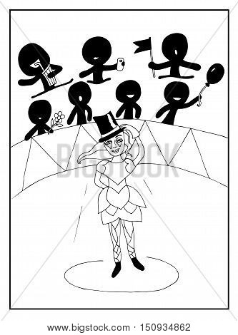 Beautiful girl in circus with people with air ball flag drink. Mono color black line art element for adult coloring book page design child magazine banner template.