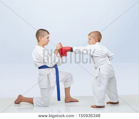 Little karateka beats punch on the simulator that brother keeps poster