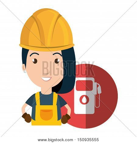 avatar woman smiling industrial worker with safety equipment and gas station pump icon over red circle. vector illustration