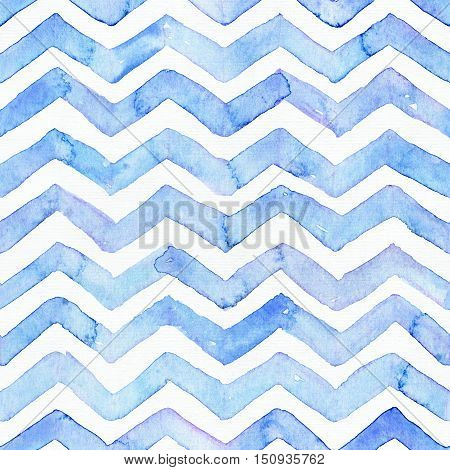 Blue watercolor seamless pattern with blue zigzag stripes hand drawn with imperfections and water splashes. Square weave design hand drawn with brush and aqua ink. Bright colors on white paper