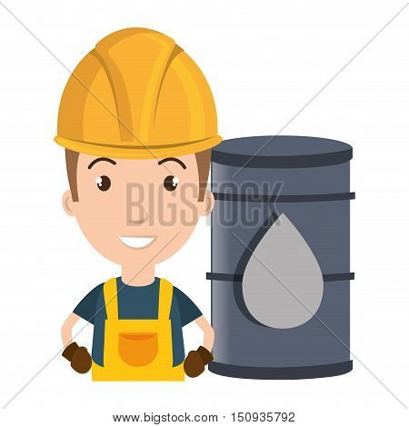 avatar man smiling industrial worker with safety equipment and oil can over yellow circle icon. vector illustration