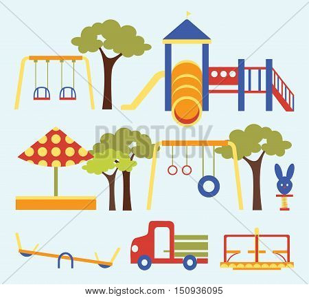 Icons set of different colorful playground equipments. Vector illustration, EPS 10