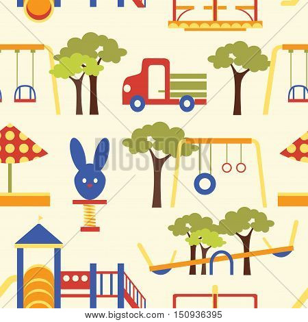 Icons set of different colorful playground equipments pattern. Vector illustration, EPS 10