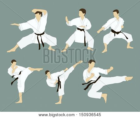 Set of six vector icons of full body man doing powerful kicks and punches isolated on grey background. Applicable to Karate and Taekwondo.
