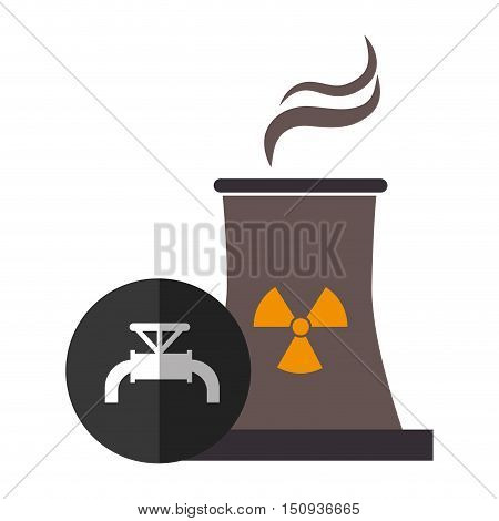 nuclear reactor plant with tap icon over black circle. vector illustration