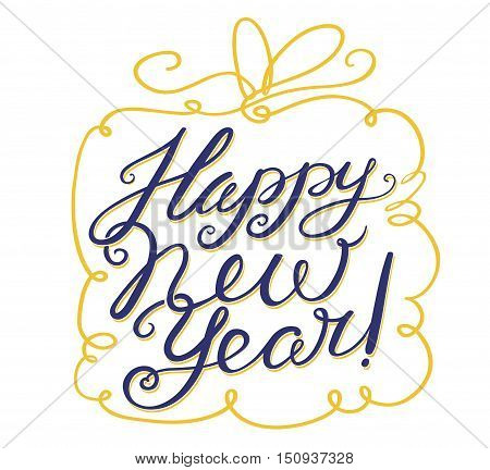 Happy New Year lettering composition. Vector hand drawn calligraphic letters for seasonal greeting - cute gift box with line art bow