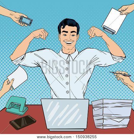 Pop Art Successful Multi Tasking Businessman with Laptop at Office Work. Vector illustration