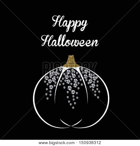 Postcard abstract glamor pumpkin dots with gold texture and diamonds halloween harvest festival or party stickers vector illustration