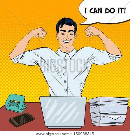 Pop Art Successful Multi Tasking Businessman with Laptop at Office Work. Vector illustration