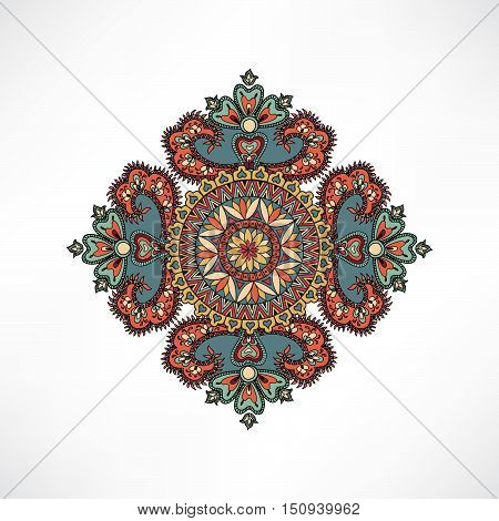 Abstact Floral Geometric Pattern Arabic Ornament Card Background Oriental Mandala Ethnic Vector Amul