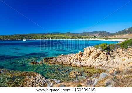 Sandy Grand Capo Beach With Red Rocks Near Ajaccio, Corsica, Europe.