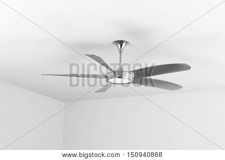 Silver ceiling fan with five blades, 3D illustration