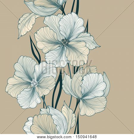 Greeting card with flowers. Floral seamless border. Floral bouquet stylish summer background. Flourish border. Floral background.