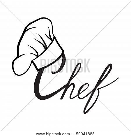 Cook hat. Drawn hat chef cook. Hat chef-cooker. Black hat chef cook on a white background