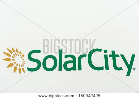 Washington DC, USA - September 24, 2016: SolarCity Corporation sign on a car