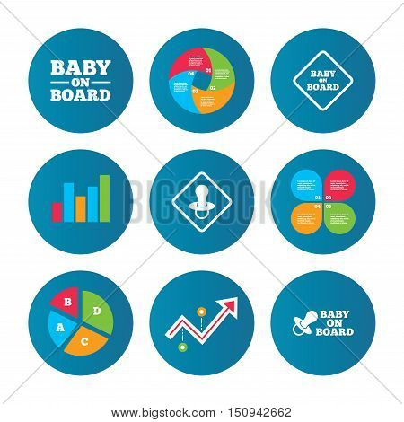 Business pie chart. Growth curve. Presentation buttons. Baby on board icons. Infant caution signs. Nipple pacifier symbol. Data analysis. Vector