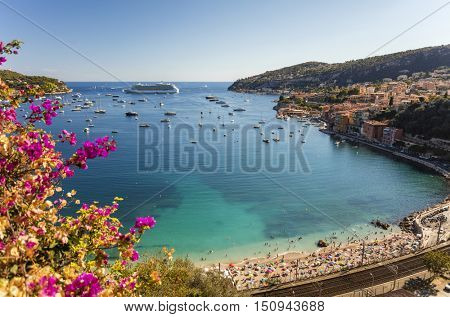 Bay of Villefranche Sur Mer and Cap Ferrat in the Alpes Maritimes department in the Provence Alpes Cote d'Azur region on the French Riviera