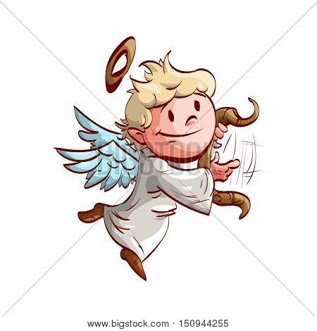 Colorful vector illustration of a cartoon cute angel playing a lyre and flying.