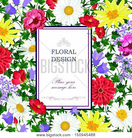 Floral background. Flower bouquet cover. Flourish summer greeting card with garden flowers. Flourish vertical frame