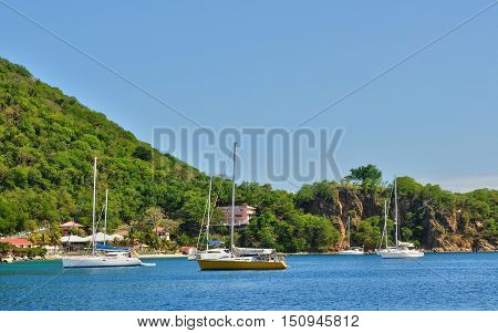 Guadeloupe Les Saintes France - may 8 2010 : the archipelago of Les Saintes islands in caribbean sea