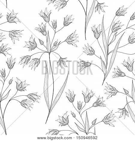 Floral seamless etching pattern. Flower engraving background. Floral sketching spring texture with flowers.