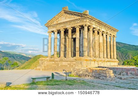 The Garni Temple is the only one existing example of the colonnaded ancient Greek architecture Kotayk Province Armenia.