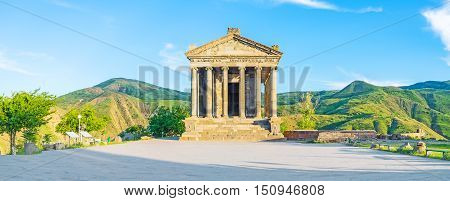 The beautiful Garni Temple is the famous archaeological site also serving as the neo-pagan shrine Kotayk Province Armenia. poster