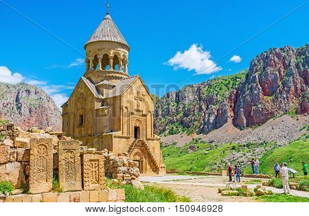 The medieval masterpieces of religious art in Noravank Monastery - khachkars with complex reliefs and Surb Astvatsatsin Church with its unique facade Vayots Dzor Armenia.