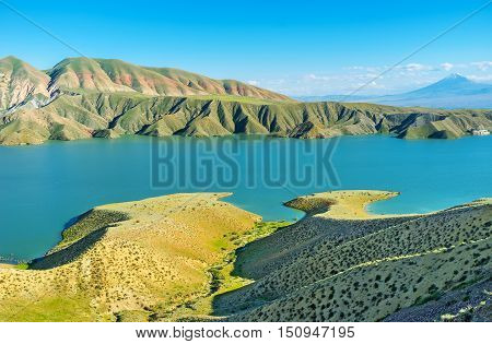 The Azat Reservoir is amazing place to enjoy the nature admire the folded landscape and overlook the Ararat Mount Ararat Province Armenia.