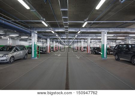 A subterranean car park in a shopping mall
