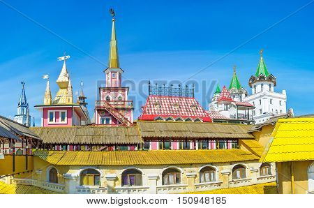 The palaces and mansions of Izmailovsky Market located next to the Kremlin of izmailovo imitates the old Russian architecture and serves as the stores hotels restaurants and craft centers Moscow Russia.